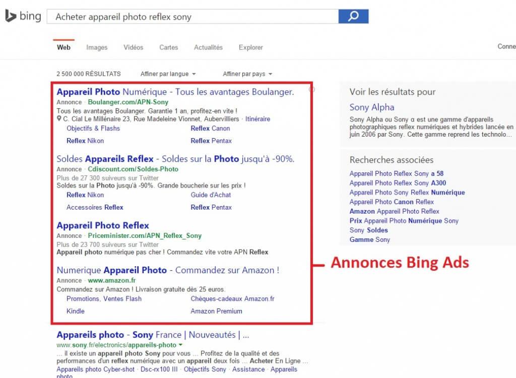 Publicité Bing Ads dans Bing