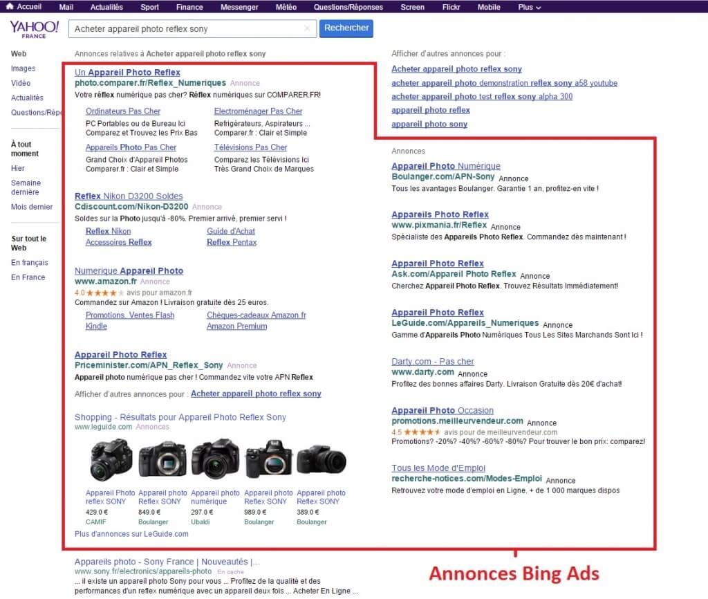 Annonces Bings Ads dans Yahoo