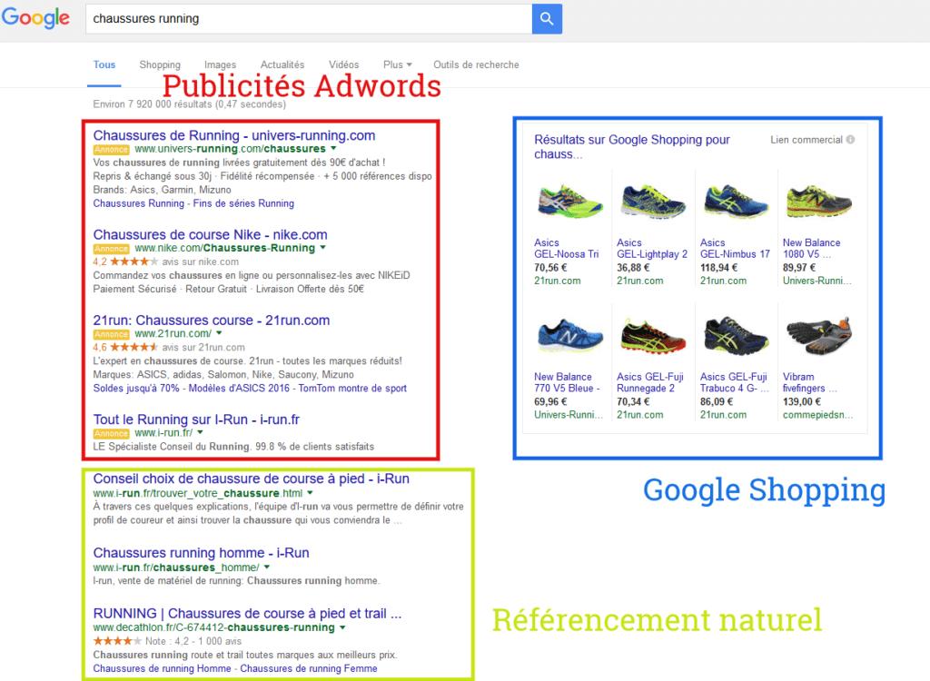 Page résultats Google