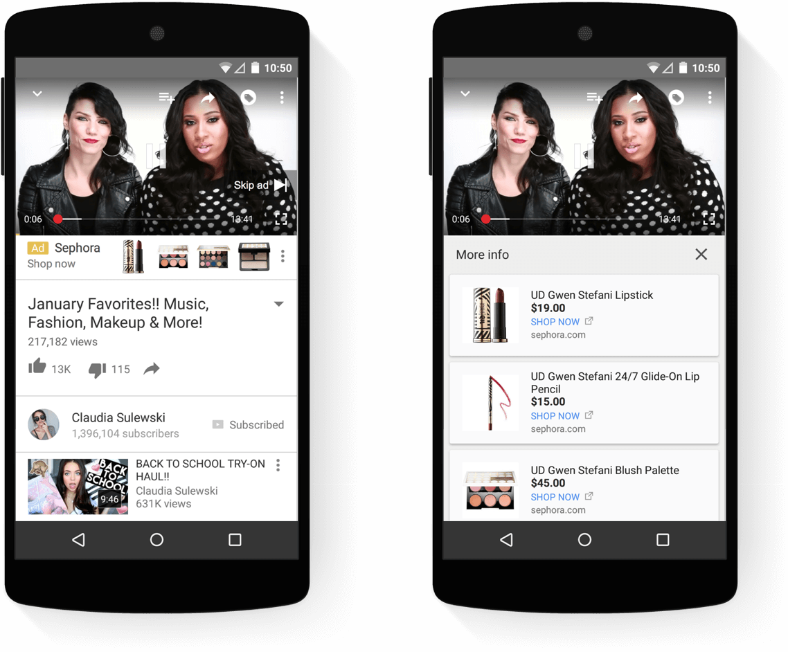 Companion banner et product picker pour YouTube