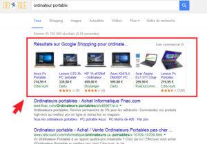 Les résultats Google Shopping apparaissent au dessus des résultats de recherche Google