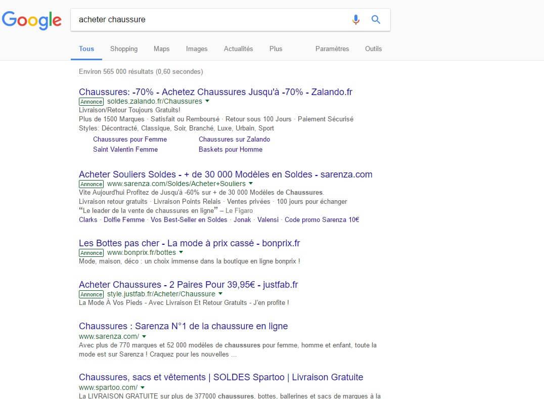 Nouvelle présentation search AdWords