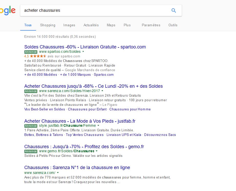 Ancienne présentation search AdWords