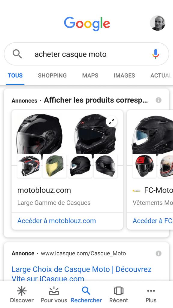 Recherche mobile Google