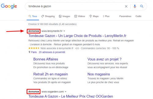 exemple google ads annonce