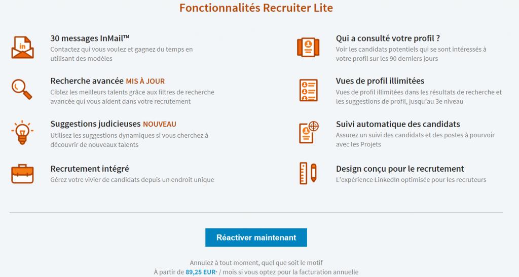offre linkedin premium recruiter lite