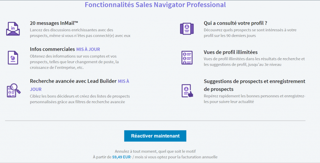 offre linkedin sales navigator