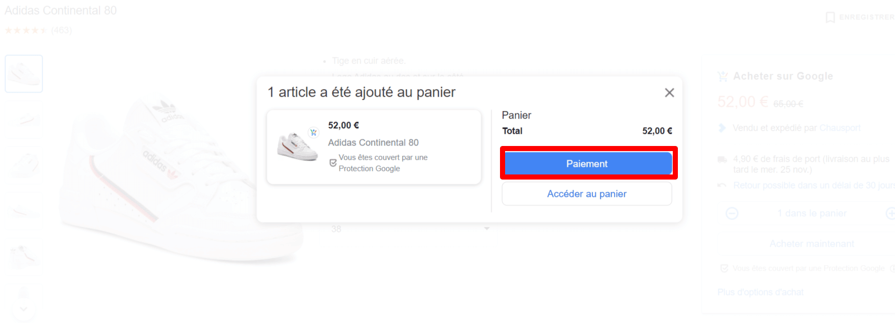 Paiement google shopping actions