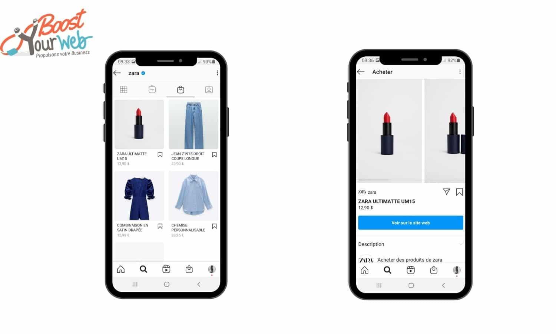 Catalogue produits boutique Instagram