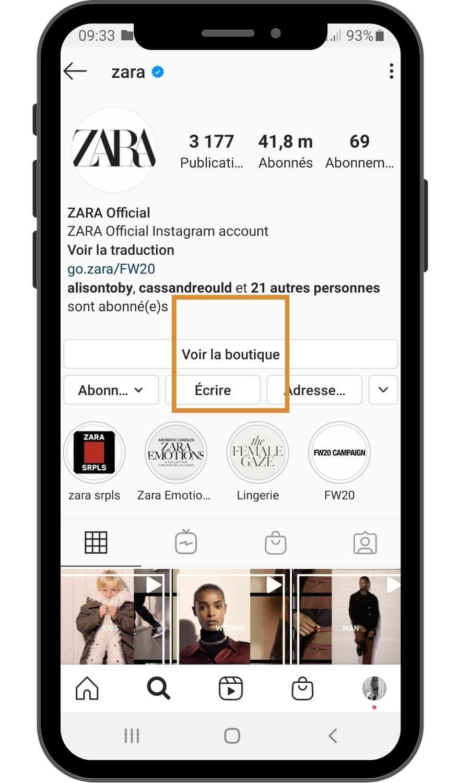 onglet boutique Instagram