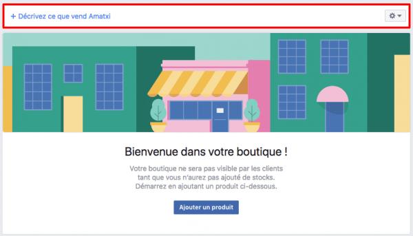 Configuration boutique Facebook