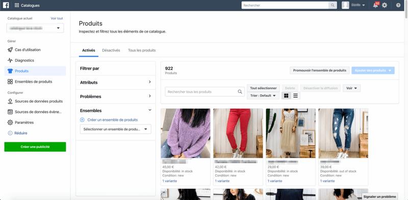 catalogue produits Facebook
