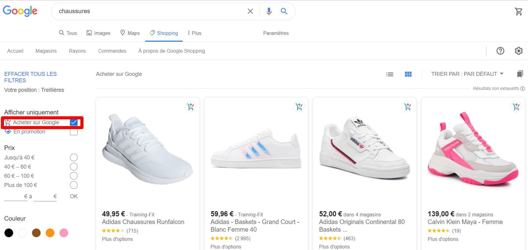 Acheter Google Shopping Actions