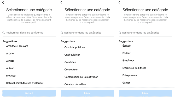 catégories -Instagram business