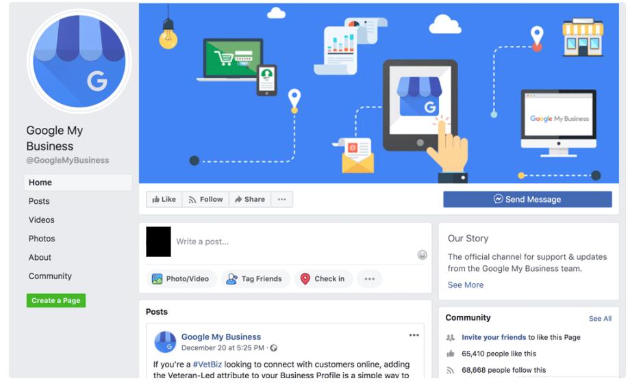 contacter google my business Facebook