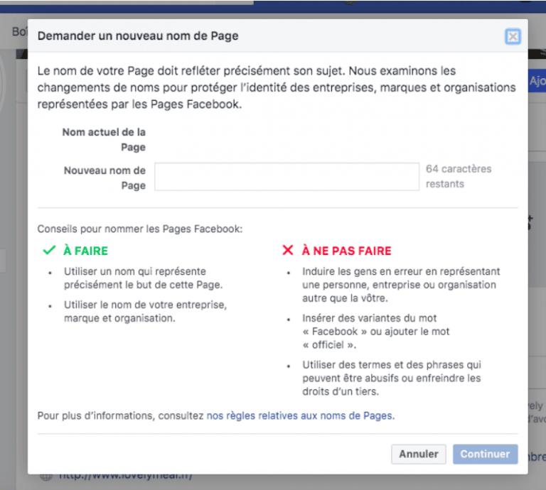 changer nom Facebook