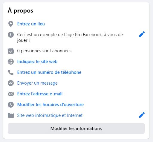 créer une page facebook pro