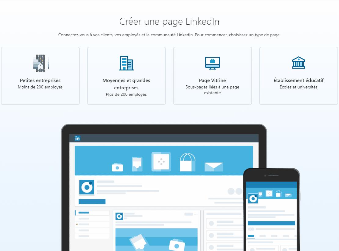 créer une page linkedin Pro