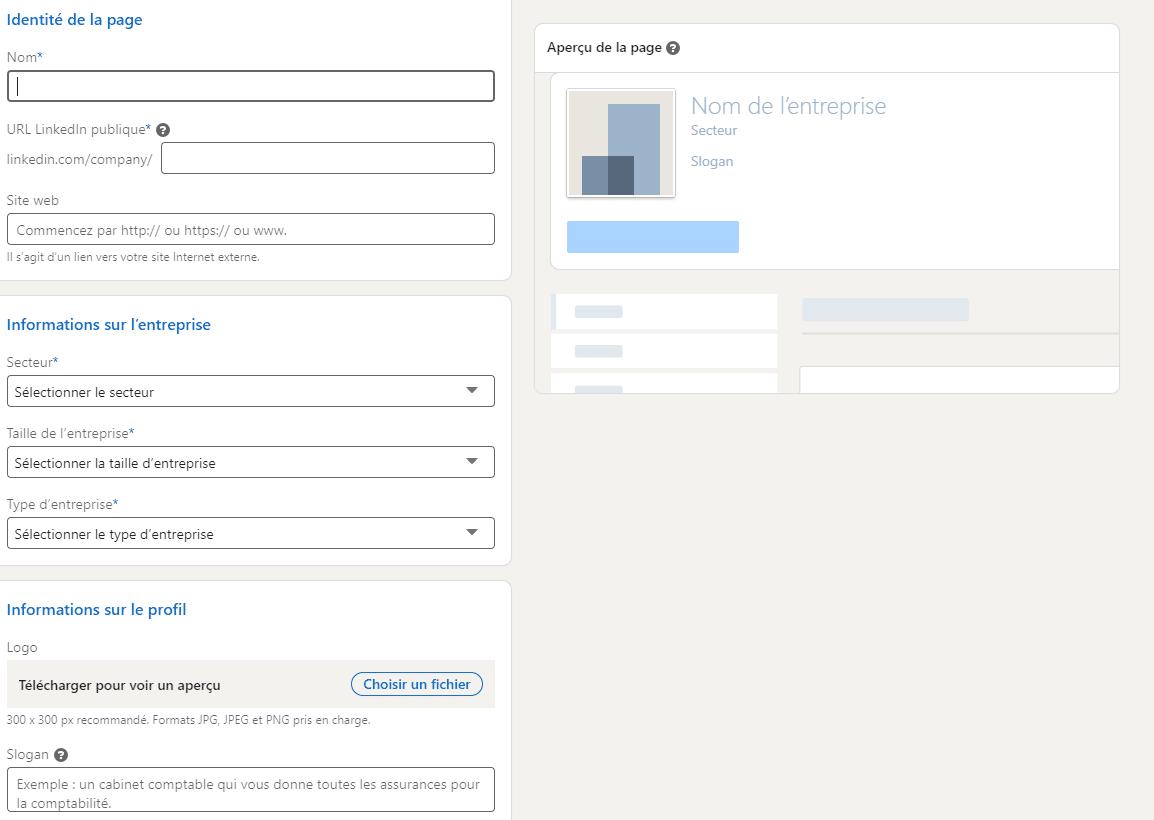 créer une page LinkedIn Entreprise