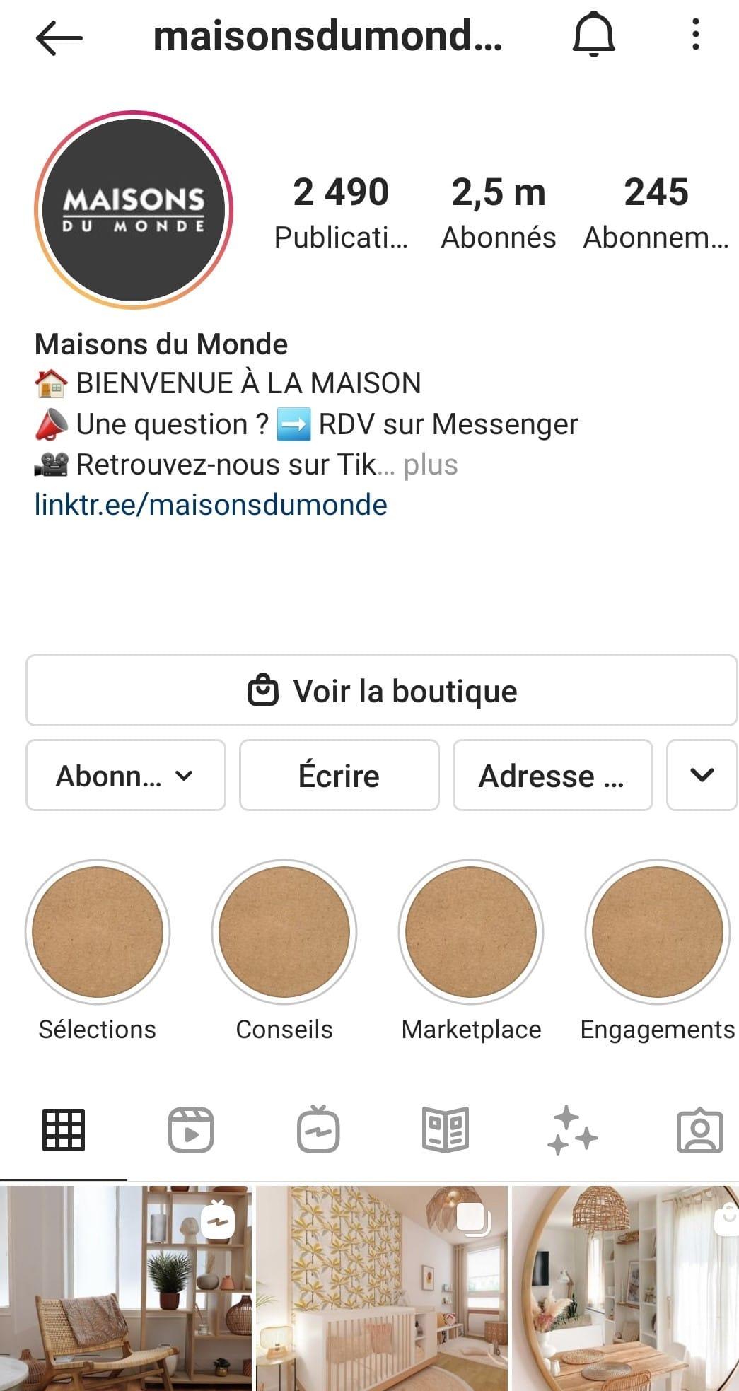 vendre sur Instagram lien bio