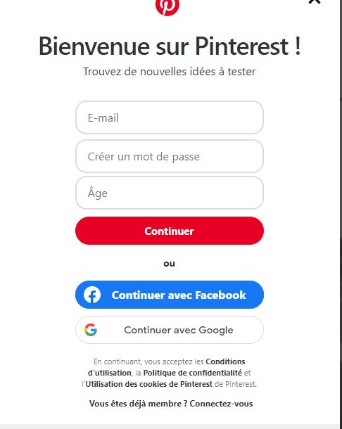 compte professionnel Pinterest