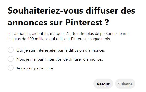 publicité compte pro Pinterest