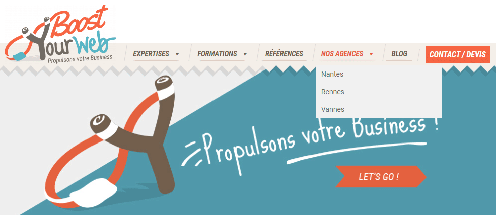 exemple de notre agence webmarketing avec une page par ville pour optimiser le référencement local