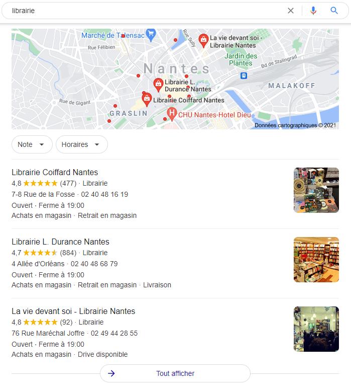 Exemple de référencement local avec la requête librairie qui géolocalise la recherche sur Nantes