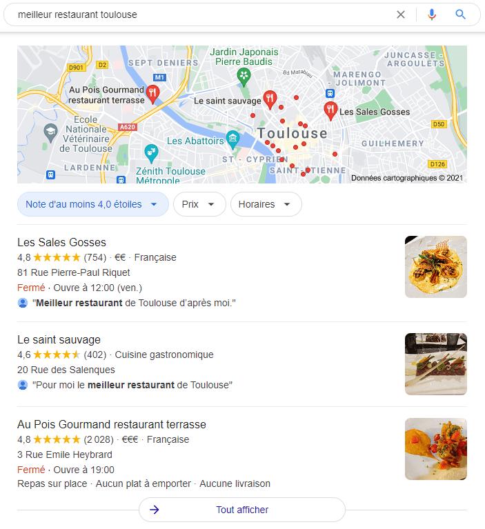 """Exemple de référencement local avec la requête """"meilleur restaurant Toulouse"""""""