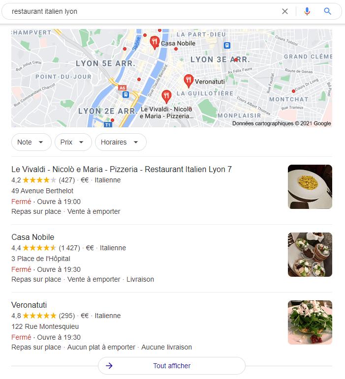 Exemple de seo local pour un restaurant italien basé à Lyon