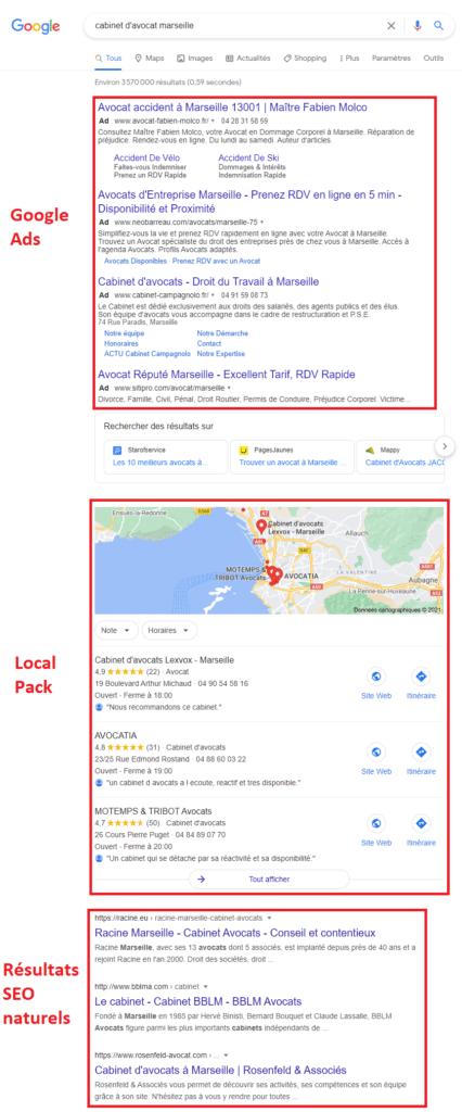 Présentation de la SERP pour présenter ou se trouve le pack local Google
